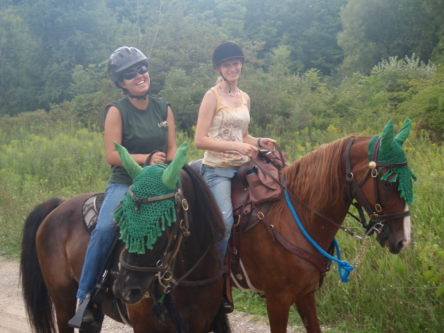 Audrey and Rachel Trail Riding